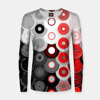 Thumbnail image of red black white silver grey abstract digital geometric art Women sweater, Live Heroes