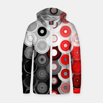 Thumbnail image of red black white silver grey abstract digital geometric art Zip up hoodie, Live Heroes