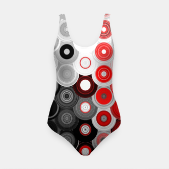 Thumbnail image of red black white silver grey abstract digital geometric art Swimsuit, Live Heroes