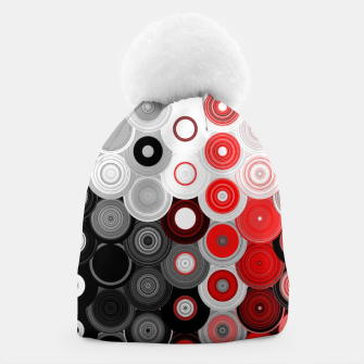 Thumbnail image of red black white silver grey abstract digital geometric art Beanie, Live Heroes