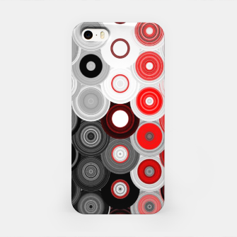 Thumbnail image of red black white silver grey abstract digital geometric art iPhone Case, Live Heroes