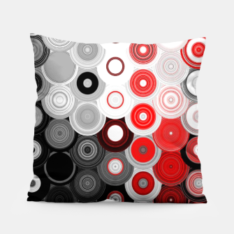 Thumbnail image of red black white silver grey abstract digital geometric art Pillow, Live Heroes
