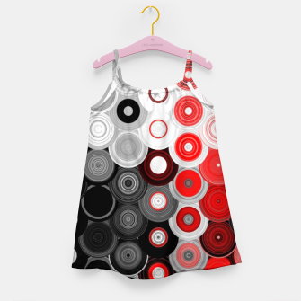 Thumbnail image of red black white silver grey abstract digital geometric art Girl's dress, Live Heroes