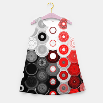Thumbnail image of red black white silver grey abstract digital geometric art Girl's summer dress, Live Heroes