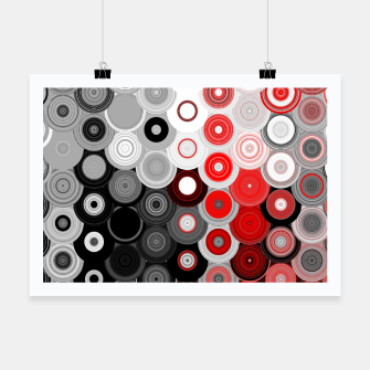 Thumbnail image of red black white silver grey abstract digital geometric art Poster, Live Heroes