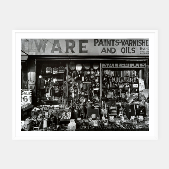 Miniatur Photo by Berenice Abbott - Hardware Store, Bowery at Bleeker Street in New York City Framed poster, Live Heroes