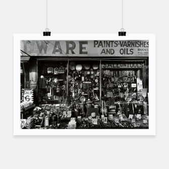 Miniatur Photo by Berenice Abbott - Hardware Store, Bowery at Bleeker Street in New York City Poster, Live Heroes