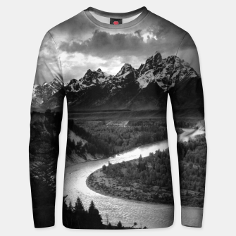 Miniaturka  Photography by Ansel Adams - The Tetons and the Snake River (1942) Grand Teton National Park, Wyoming Unisex sweater, Live Heroes