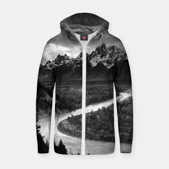 Miniaturka  Photography by Ansel Adams - The Tetons and the Snake River (1942) Grand Teton National Park, Wyoming Zip up hoodie, Live Heroes
