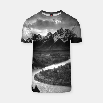 Miniaturka  Photography by Ansel Adams - The Tetons and the Snake River (1942) Grand Teton National Park, Wyoming T-shirt, Live Heroes