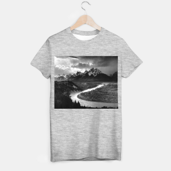 Miniaturka  Photography by Ansel Adams - The Tetons and the Snake River (1942) Grand Teton National Park, Wyoming T-shirt regular, Live Heroes