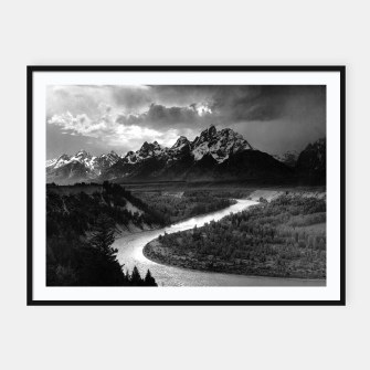 Miniatur  Photography by Ansel Adams - The Tetons and the Snake River (1942) Grand Teton National Park, Wyoming Framed poster, Live Heroes
