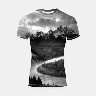 Miniatur  Photography by Ansel Adams - The Tetons and the Snake River (1942) Grand Teton National Park, Wyoming Shortsleeve rashguard, Live Heroes