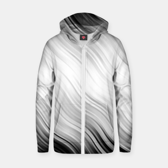 Stripes Wave Pattern 10 bw Zip up hoodie thumbnail image