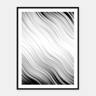 Stripes Wave Pattern 10 bw Framed poster thumbnail image