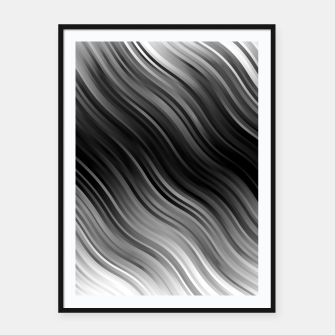 Stripes Wave Pattern 10 bwi Framed poster miniature