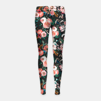 Thumbnail image of Vintage night flowery garden Leggings para niña, Live Heroes