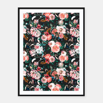 Vintage night flowery garden Cartel con marco thumbnail image