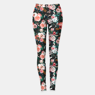 Thumbnail image of Vintage night flowery garden Leggings, Live Heroes