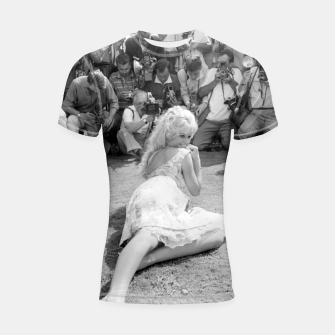 Thumbnail image of Photo of French actress Brigitte Bardot during 1958, Venice Film Festival Shortsleeve rashguard, Live Heroes