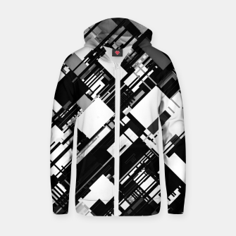 Thumbnail image of Black and White Graphic Design Zip up hoodie, Live Heroes