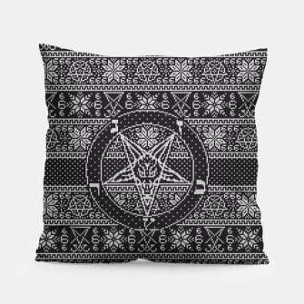 Thumbnail image of Satanic ugly sweater Pillow, Live Heroes