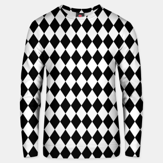 Large Black and White Harlequin Diamond Check Unisex sweater imagen en miniatura