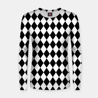 Large Black and White Harlequin Diamond Check Women sweater imagen en miniatura