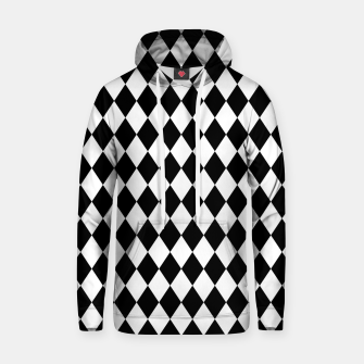 Large Black and White Harlequin Diamond Check Hoodie imagen en miniatura