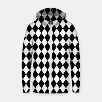 Large Black and White Harlequin Diamond Check Zip up hoodie imagen en miniatura