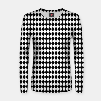 Imagen en miniatura de Classic Black and White Harlequin Diamond Check Women sweater, Live Heroes