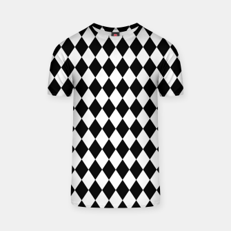 Large Black and White Harlequin Diamond Check T-shirt imagen en miniatura