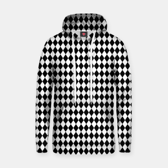 Imagen en miniatura de Classic Black and White Harlequin Diamond Check Hoodie, Live Heroes