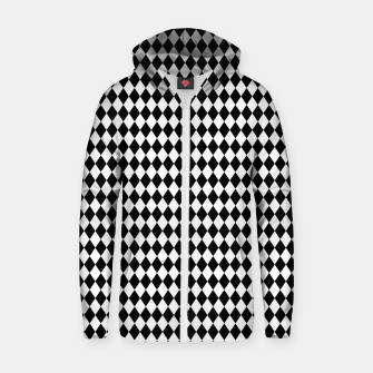Imagen en miniatura de Classic Black and White Harlequin Diamond Check Zip up hoodie, Live Heroes