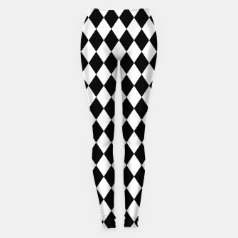 Large Black and White Harlequin Diamond Check Leggings imagen en miniatura