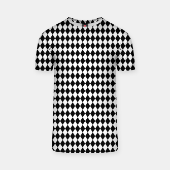 Imagen en miniatura de Classic Black and White Harlequin Diamond Check T-shirt, Live Heroes