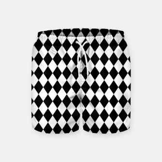 Large Black and White Harlequin Diamond Check Swim Shorts imagen en miniatura