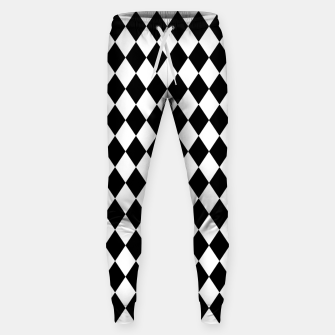 Large Black and White Harlequin Diamond Check Sweatpants imagen en miniatura