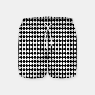 Imagen en miniatura de Classic Black and White Harlequin Diamond Check Swim Shorts, Live Heroes