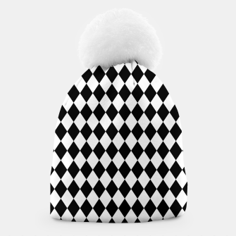 Large Black and White Harlequin Diamond Check Beanie imagen en miniatura