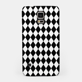 Large Black and White Harlequin Diamond Check Samsung Case imagen en miniatura