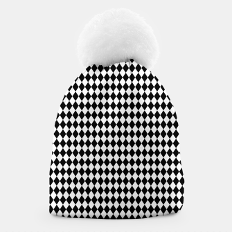 Imagen en miniatura de Classic Black and White Harlequin Diamond Check Beanie, Live Heroes