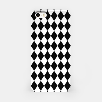 Large Black and White Harlequin Diamond Check iPhone Case imagen en miniatura
