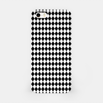 Imagen en miniatura de Classic Black and White Harlequin Diamond Check iPhone Case, Live Heroes