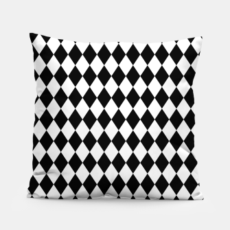 Large Black and White Harlequin Diamond Check Pillow imagen en miniatura