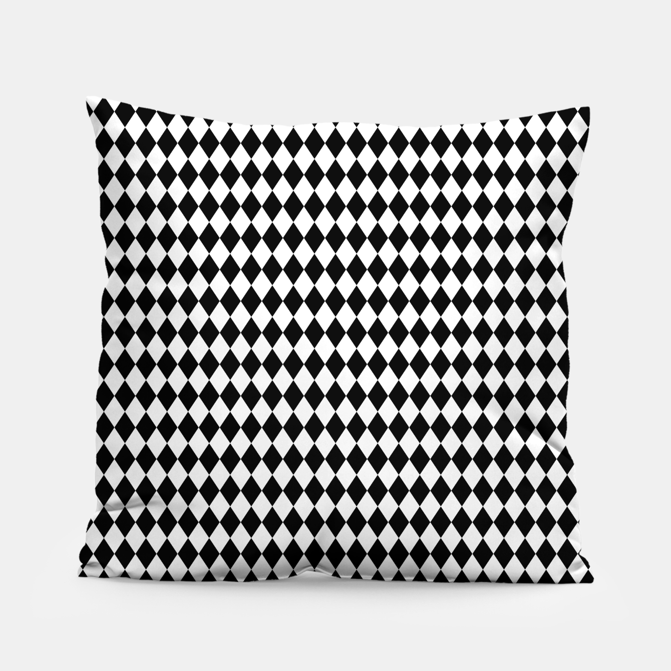 Foto Classic Black and White Harlequin Diamond Check Pillow - Live Heroes