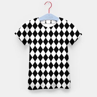 Large Black and White Harlequin Diamond Check Kid's t-shirt imagen en miniatura