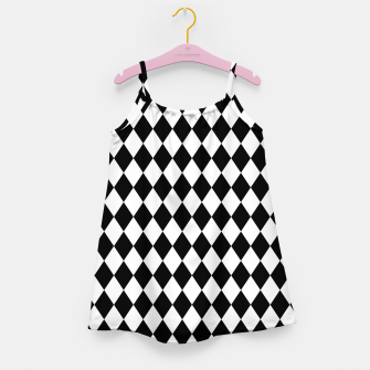 Large Black and White Harlequin Diamond Check Girl's dress imagen en miniatura