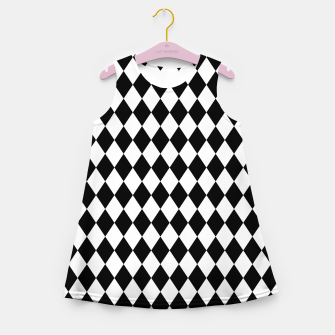 Large Black and White Harlequin Diamond Check Girl's summer dress imagen en miniatura