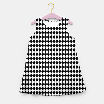 Imagen en miniatura de Classic Black and White Harlequin Diamond Check Girl's summer dress, Live Heroes